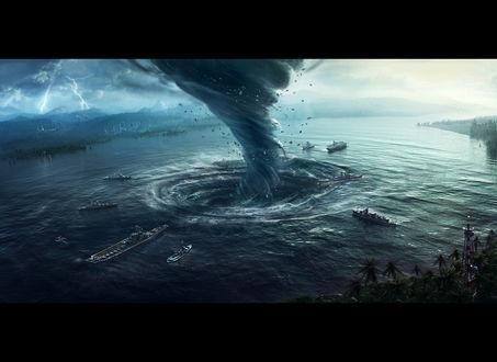Обои Торнадо над рекой образует водоворот, затягивая туда корабли