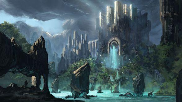 Обои Сказочный замок с водопадом