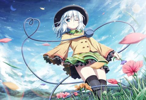Обои Koishi Komeiji / Койши Комейдзи идет по цветущему полю из серии компьютерных игр Тохо / Touhou Project