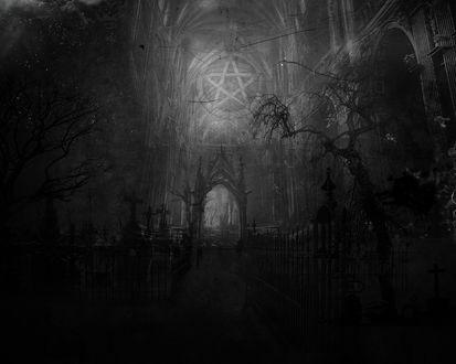 Обои Темный храм с печатью Люцифера под сводом