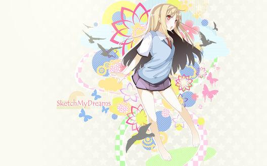 Обои Mashiro Shiina / Сиина Масиро на фоне разноцветной абстракции с цветами, бабочками и птицами, аниме Кошечка из Сакурасо / Sakurasou no Pet na Kanojo (Sketch My Dreams / Эскиз Моей Мечты)