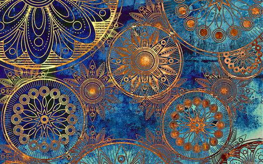 Обои Золотистый абстрактный узор на потертом синем фоне