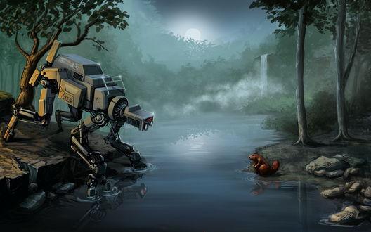 Обои Робот, стоя на берегу небольшой речки с водопадом, смотрит на бобра, сидящего на противоположном берегу