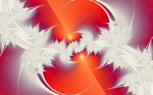 Обои Фракталы - белые перья на алом фоне