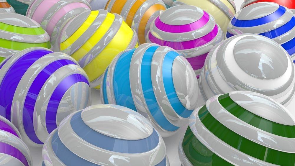 Обои для рабочего стола Разноцветные полосатые шары