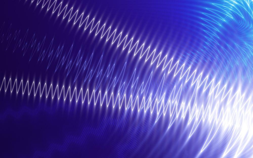 Обои для рабочего стола Фракталы - осциллограммы на синем фоне