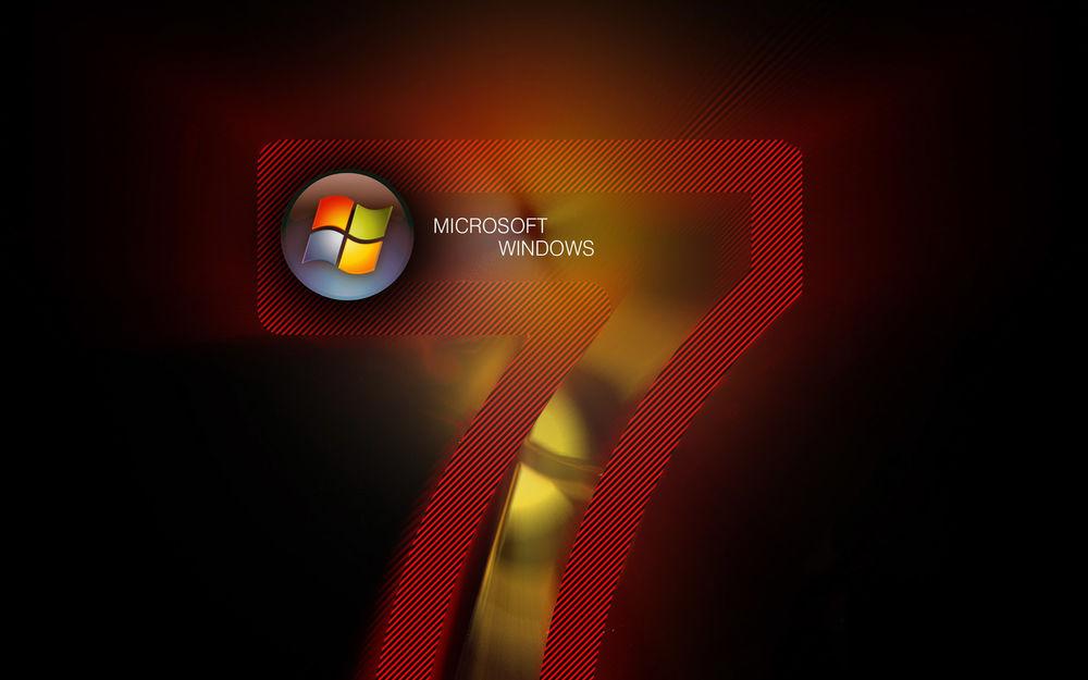Обои для рабочего стола Логотип windows 7и microsoft на черном фоне