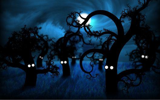 Обои Деревья ночью проснулись, у них появились глаза