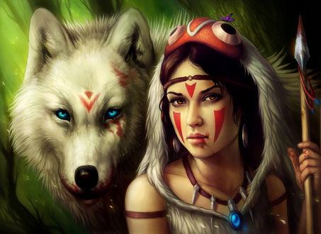 Обои Принцесса Мононокэ / Princess Mononoke и богиня-волчица Моро / Moro из аниме Princess Mononoke / Принцесса Мононоке / Mononoke Hime
