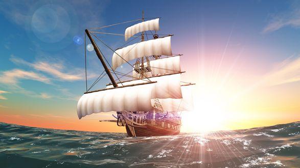 Обои Парусный фрегат на фоне утреннего восходящего солнца