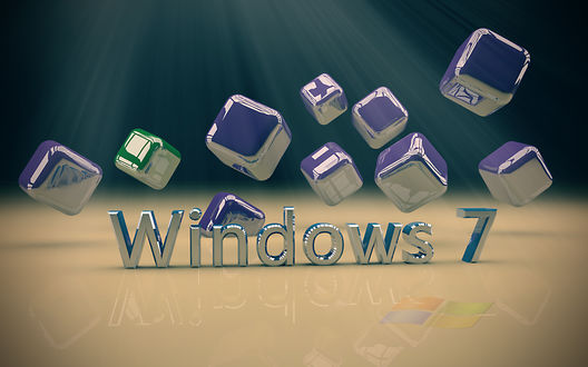 Обои Металлический логотип Windows 7 на фоне металлических кубиков