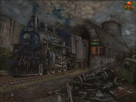 Обои Паровоз выезжает из туннеля и проезжает мимо искусственно сделанной свалки (Москва, Московская железная дорога)