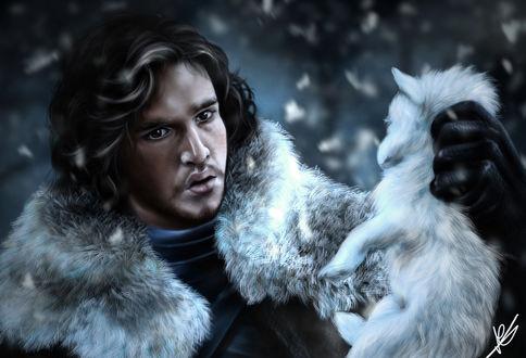 Обои Джон Сноу / Jon Snow, роль исполняет Кит Харингтон / Keith Harrington, держит белого волчонка. Сериал Игра престолов / Game of Thrones