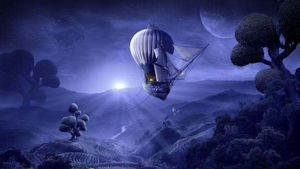 Обои Летающие корабли на воздушных шарах над необычными деревьями на фоне духа дракона, луны и встающего солнца
