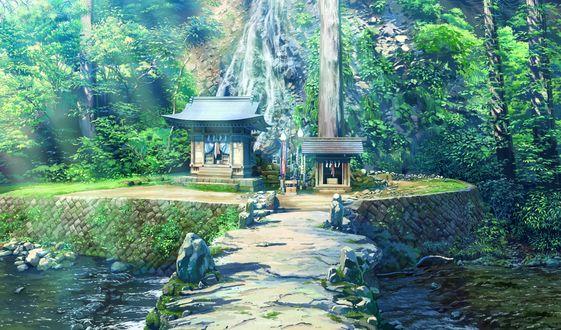 Обои Храм в лесу из игры - визуальной новеллы Shoujo Shiniki ~ Shoujo Tengoku -The Garden of Fifth Zoa