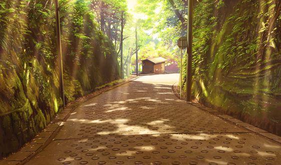 Обои Дорога между зелеными холмами, ведущая к небольшой деревянной постройке из игры - визуальной новеллы Shoujo Shiniki ~ Shoujo Tengoku -The Garden of Fifth Zoa