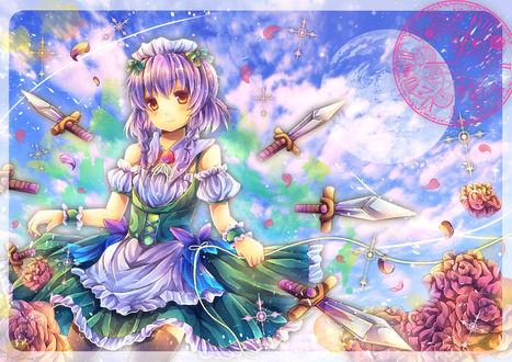 Обои Izayoi Sakuya / Сакуя Изаеи стоит в окружении заклинания летающих кинжалов из серии компьютерных игр Тохо / Touhou Project (художник Pjrmhm Coa)