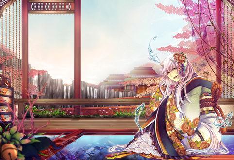 Обои Розововолосая девушка в кимоно смотрит на летающих вокруг нее водяных рыб