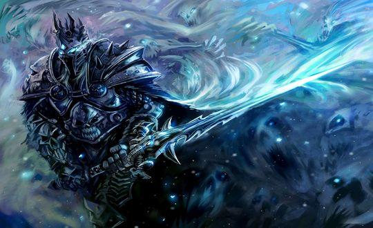 Обои Король Лич с мечом / Арт к игре World of Warcraft