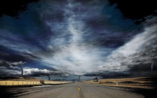 Обои Асфальтовая дорога, ведущая к горам на фоне многочисленных столбов смерча, поднимающего пыль от земли к небу