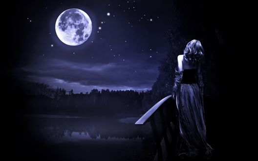 Обои Девушка стоит на мосту у озера, глядя на луну