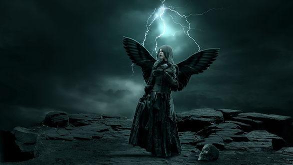 Обои Девушка в черной одежде с крыльями ангела за спиной, держащая в руках черную ворону, стоящая на скалистом утесе рядом с лежащим черепом на фоне грозового неба с разрядами молнии