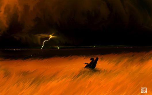Обои Мальчик с гитарой сидит в поле под ночным грозовым небом