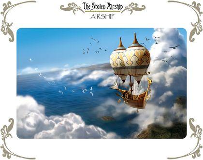 Обои Дирижабль в облаках пролетает над островами посреди океана в окружении птиц, The Stolen Airship / Похищенный дирижабль, художник-мультипликатор Yumiko Sonoyama