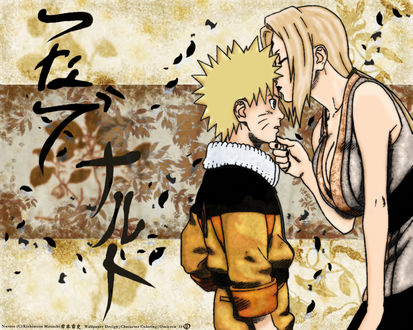 Обои Tsunade / Тсунаде целует в лоб Naruto Uzumaki / Наруто Узумаки из аниме Naruto / Наруто