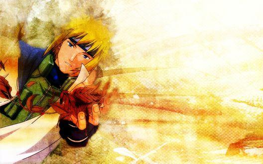 Обои Minato Namikaze / Минато Намикадзе из аниме Naruto / Наруто держит в руках охапку осенних листьев