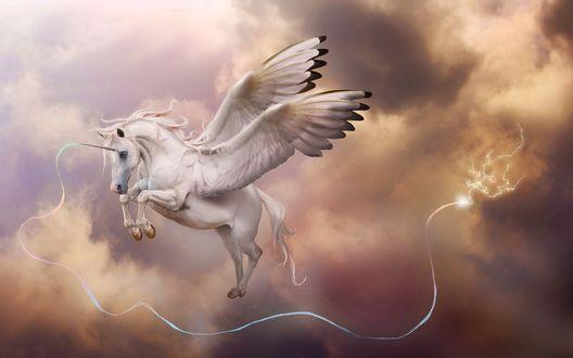 Обои Белый единорог летит в небе, из его рога исходит луч света, который в конце образует молнию