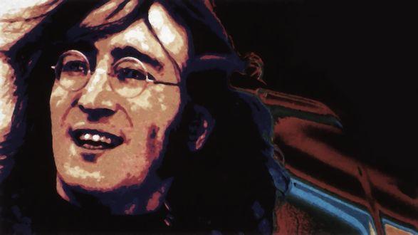 Обои Участник группы The Beatles / Битлз Джон Леннон / John Lennon, в очках