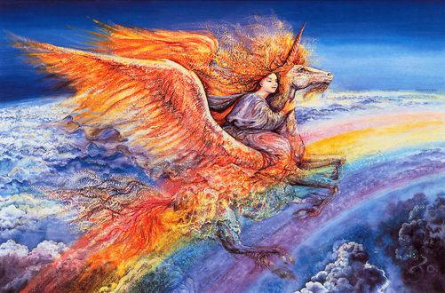 Обои Девушка верхом на огненном пегасе летит над землей и радугой / рисунок на холсте художницы Жозефины Уолл / Josephine Wall
