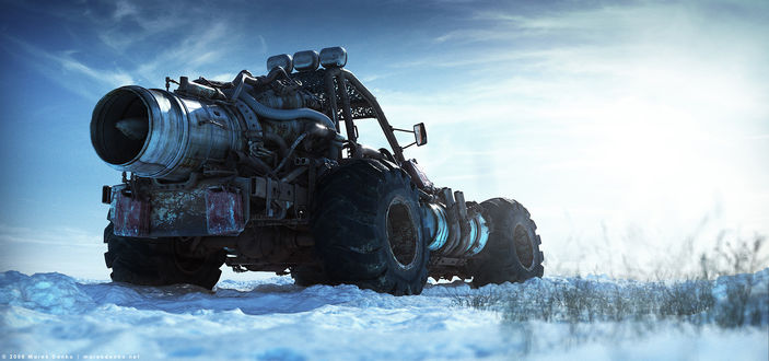 Обои Багги стоит на снегу, художник Marek Denko / Марек Денко