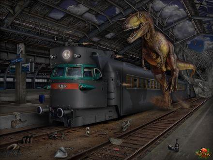 Обои Тираннозавр гонится за поездом, в него стреляет человек, сидящий на крыше поезда