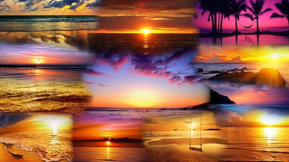 Обои Коллаж, состоящий из фотографий, запечатляющих закат и восход солнца над морскими просторами