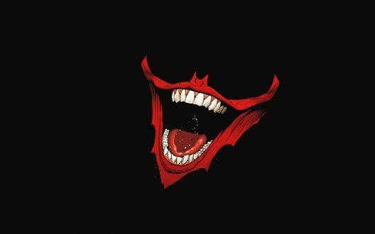 Обои Улыбка Джокера / Joker на черном фоне
