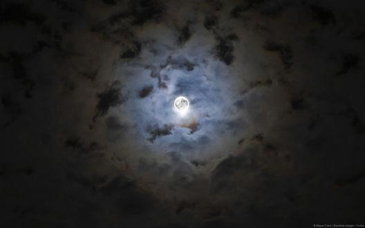 Обои Полная луна на облачном небе, фотограф Miguel Claro / Мигель Кларо