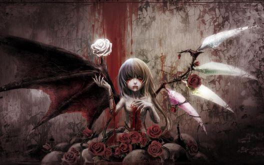Обои Девушка с раной на груди вся в крови с крыльями демона и розами