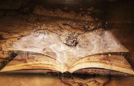 Обои Раскрытая книга лежит на карте, на которой плавает корабль в море (Treasure Island / Остров Сокровищ)