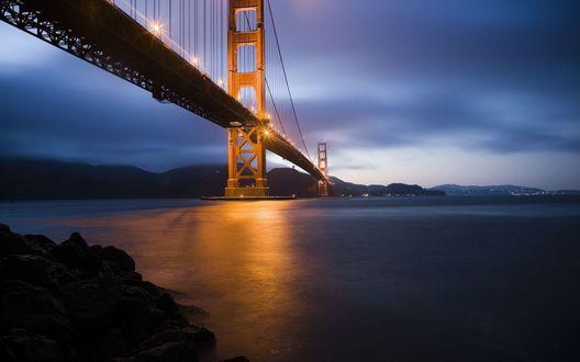 Обои Мост Golden Gate Bridge / Золотые ворота ночью, San Francisco, USA / Сан-Франциско, США
