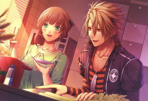 Обои Heroine / Героиня из аниме Amnesia / Амнезия и Toma / Тома готовят обед