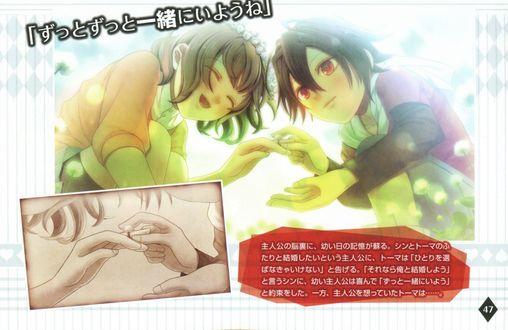 Обои Shin / Шин одевает кольцо Heroine / Героине из аниме Amnesia / Амнезия