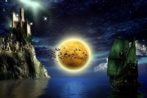 Обои Фрегат с зелеными парусами проходит под скалой с замком на вершине, на фоне полной луны и пролетающих птиц