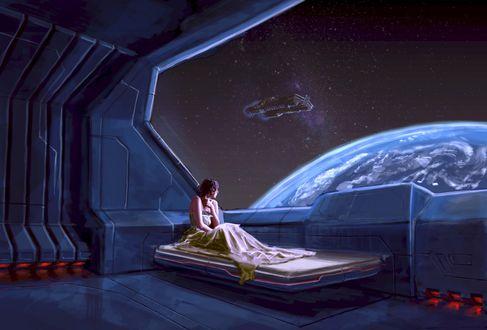 Обои Девушка, сидя на кровати, смотрит из окна космического корабля на Землю, художник Yair Mor