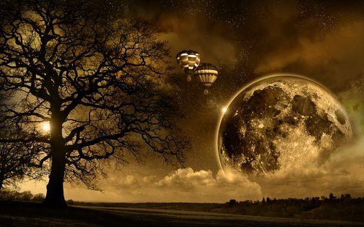 Обои Воздушные шары направляются к таинственному шару, появившимуся на горизонте