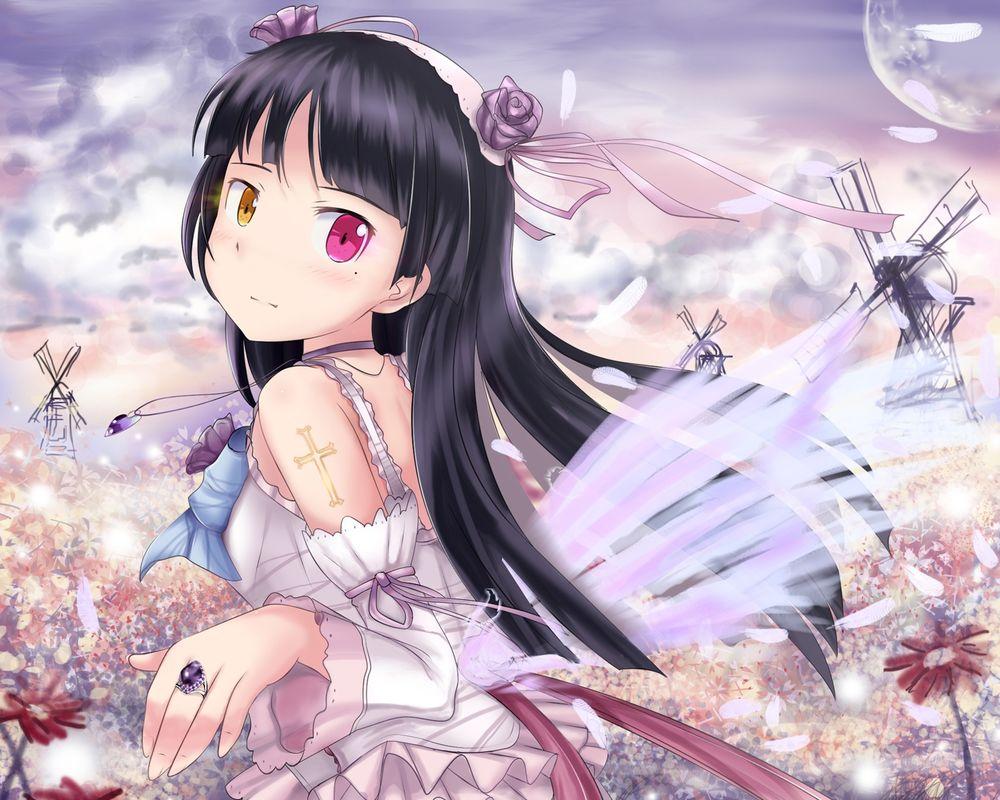Обои для рабочего стола Ruri Gokou / Рури Гоко (Куронеко) на цветочной поляне из аниме Ore no Imouto ga Konna ni Kawaii Wake ga Nai / Моя младшая сестра не может быть такой милой (художник Edogawakid)