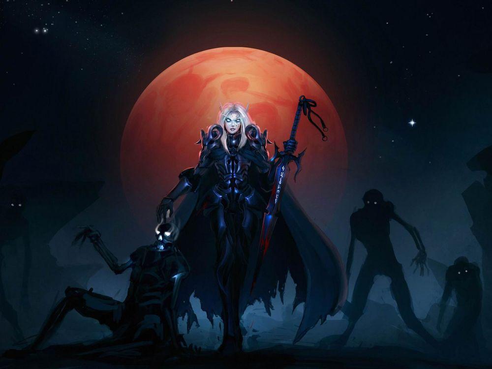 Обои для рабочего стола Темный рыцарь воскрешает нежить на фоне полной луны / Арт к игре World of Warcraft