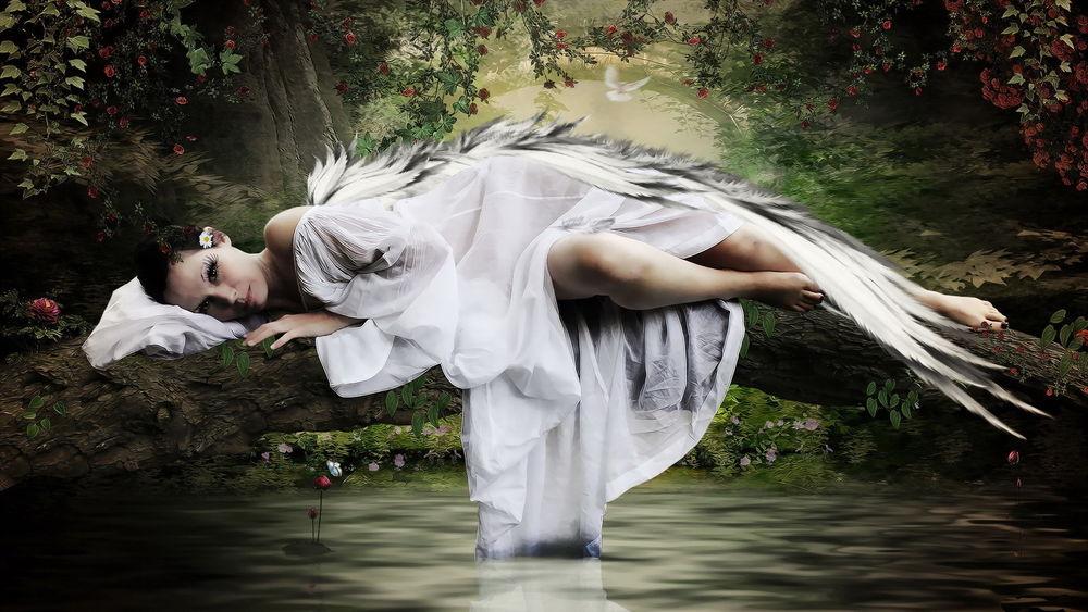 Фото девушки стоящей на дереве возле моря в белом платье фото 562-983