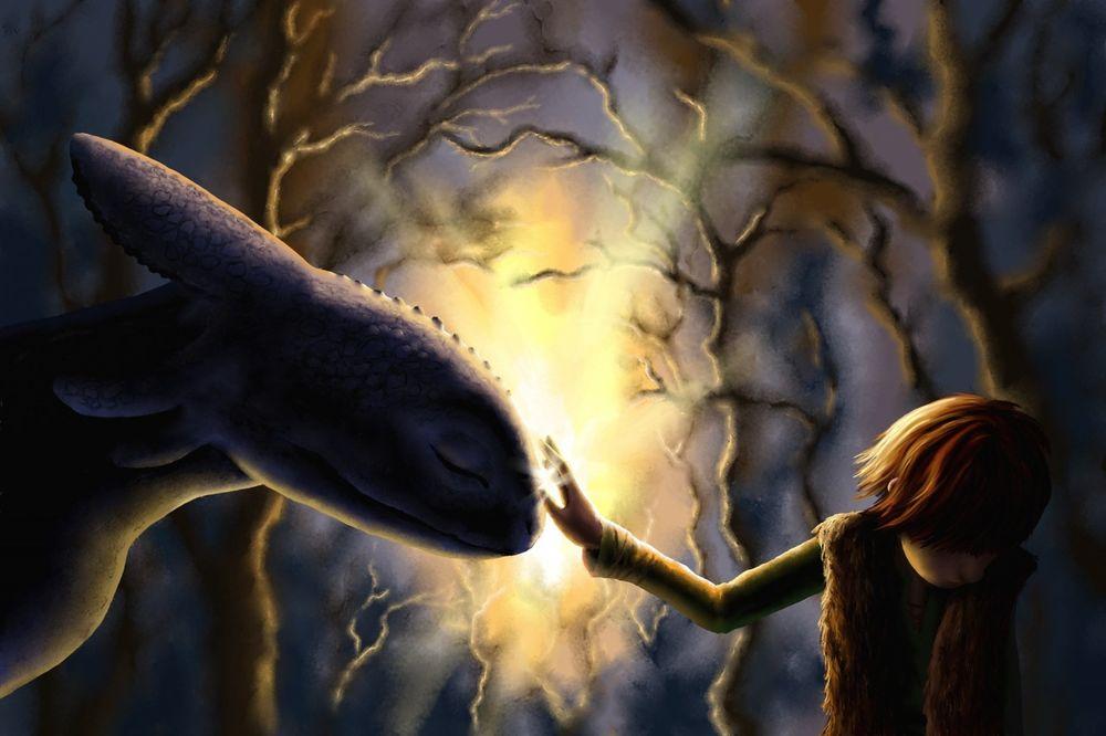 Обои для рабочего стола Икинг гладит дракона Беззубика, он же Ночная Фурия из мультфильма Как приручить дракона / How to Train Your Dragon